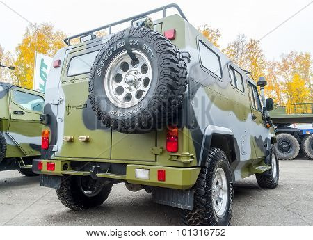 VPK-233115 Tiger-M armored vehicle. Rear view