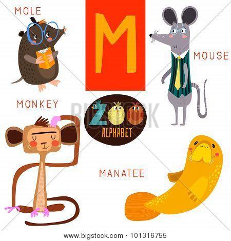 Cute Zoo Alphabet In Vector.m Letter. Funny Cartoon Animals:mole,mouse,monkey,manatee. Alphabet Desi