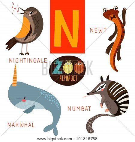 Cute Zoo Alphabet In Vector.n Letter. Funny Cartoon Animals:nightingale,newt,narwhal,numbat. Alphabe