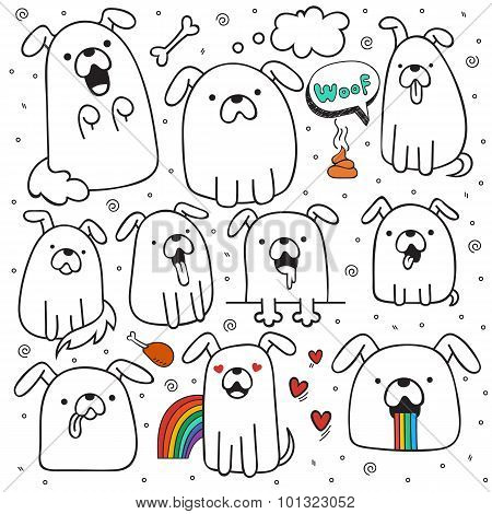 Set of 10 dogs doodle handmade. Dogs with emotions