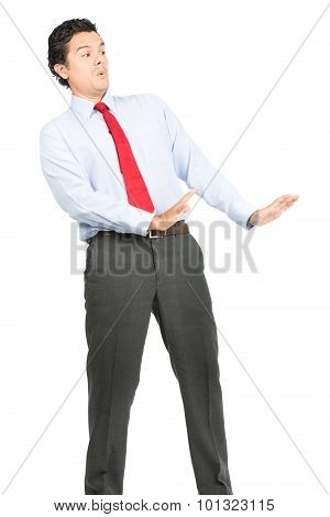 Arms Out Defesnive Posture Hispanic Businessman