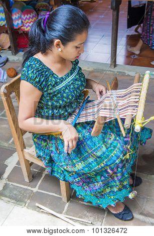 Peruvian Man Weaving