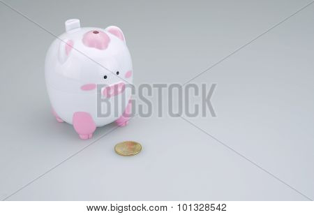 Piggy Bank With One Coin