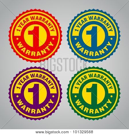 One year warranty badge. Different colors
