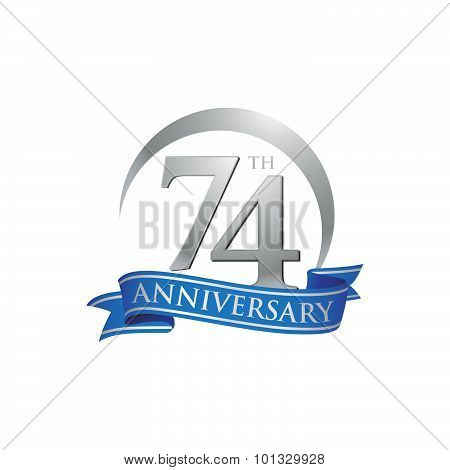 74th anniversary logo template.  Creative design. Business success poster
