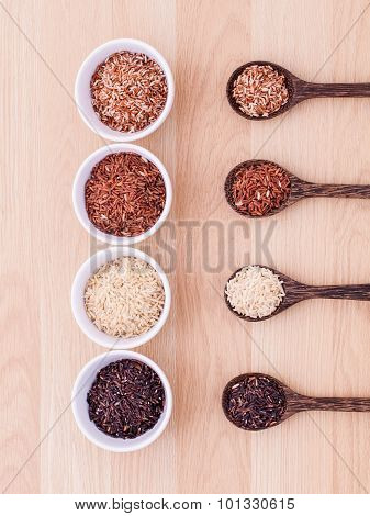 Collection of whole grain Thai jasmine ricerice berry and brown rice best rice for healthy and clean food. poster