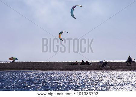 kitesurf wings over the beach of Ada Bojana, Montenegro