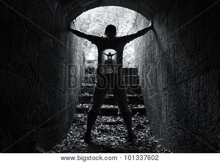 Infinity Inner World Concept, Young Man In Tunnel