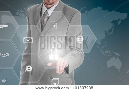 Business intelligence concept man pressing selecting data protection. poster