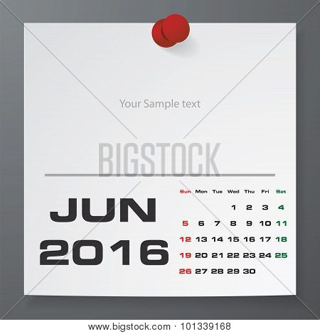 June 2016 Calendar on white paper with free space for your sample text.