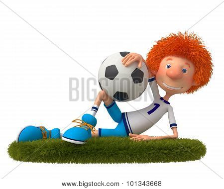 3D Boy Football Player