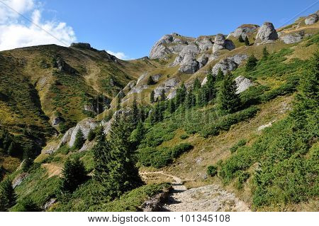 Beautiful mountain vista sedimentary rocks in the Carpathians poster