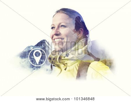 Hiking Athlete Backpacker Latitude Longitude Hill Concept