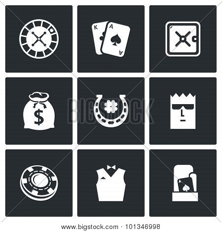 Casino Icons. Vector Illustration.