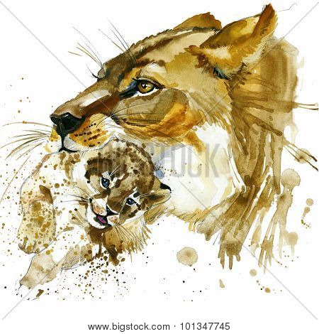 lioness and cub T-shirt graphics. lioness and cub illustration with splash watercolor textured  back