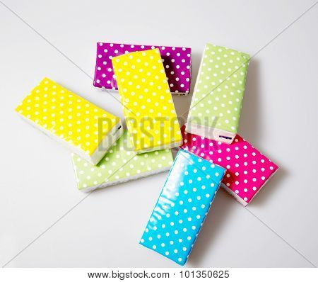 a photo of some colorful tissue on a white background