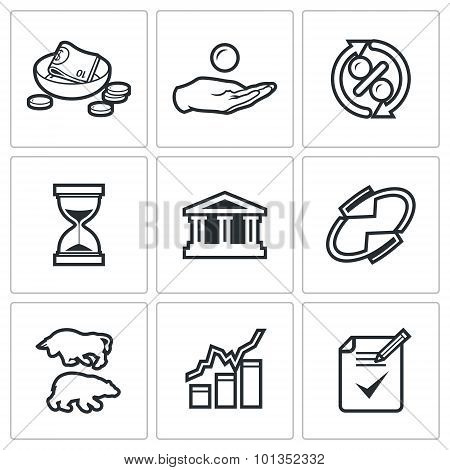 Loan Icons. Vector Illustration.
