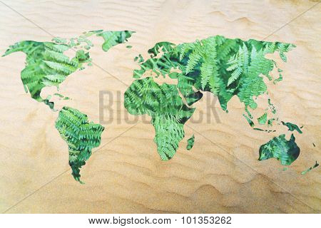 Protect The Environment From Desertification: World Map With Leaves Fill And Sand Background (no Wat