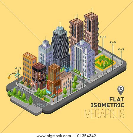 Isometric city megapolis concept with 3d office buildings
