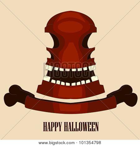 red skull halloween. vector illustration