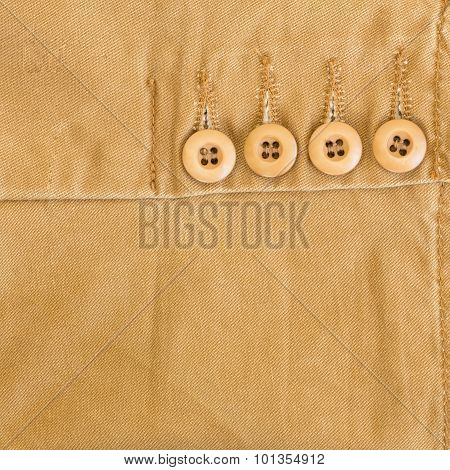 Brown Fabric Texture With Button On Material Of Textile Industrial