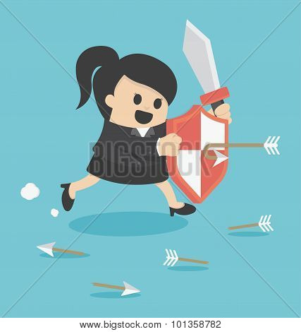 Business Woman prevention and Assault Illustration Cartoons concepts . vector eps10 poster