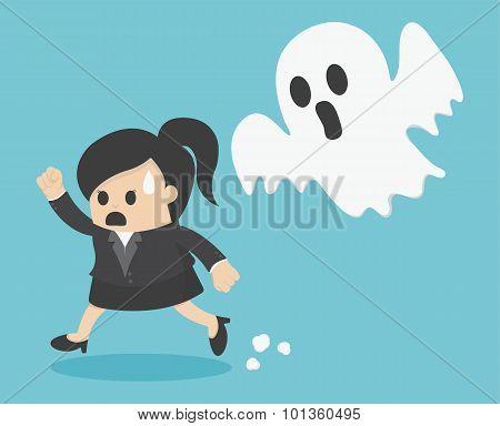 Business Woman Run Ghost