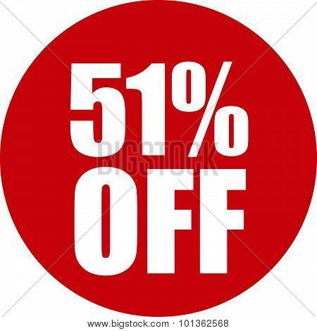 51 Percent Off Icon