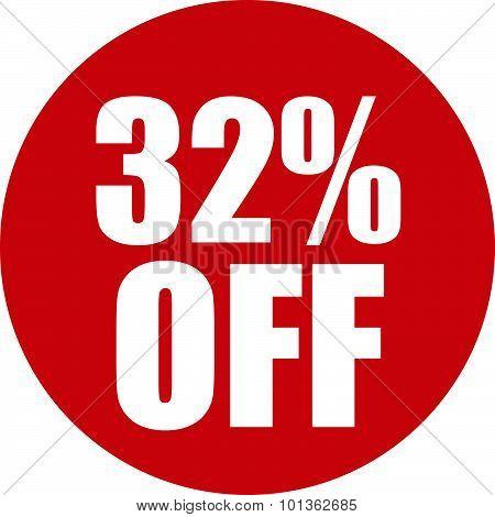 32 Percent Off Icon