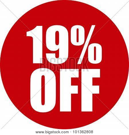 19 Percent Off Icon