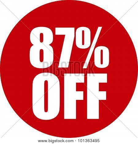 87 Percent Off Icon