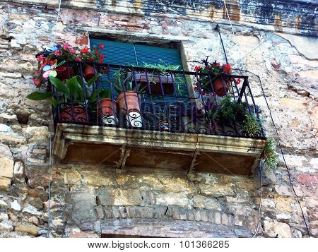balcony with pots and flowers