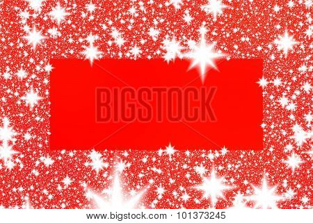Border from white snowflakes or stars on a red background