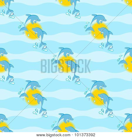 Leaping dolphins against the sun, in a seamless pattern against a wave background. EPS10 vector format