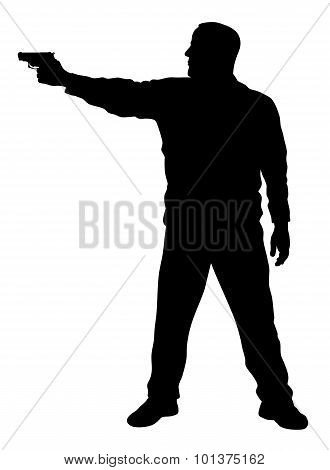 Vector illustration of shooter silhouette  on white background poster