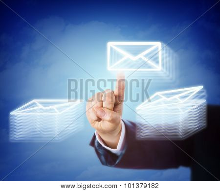 Hand Moving Email Between Two Document Stacks