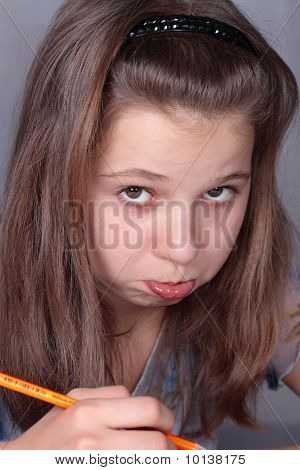 Teenage girl displeased