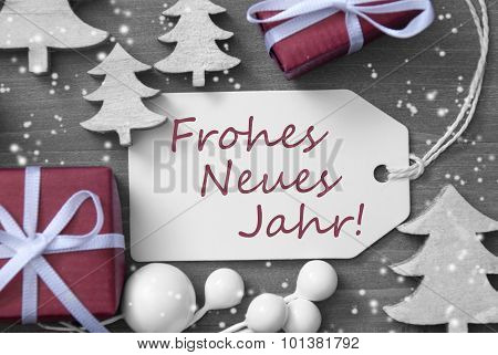 Christmas Label Gift Snowflakes Frohes Neues Jahr Means New Year