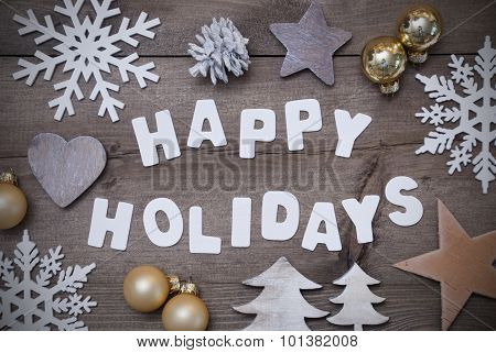 Wooden Background, Happy Holidays,Christmas Decoration, Gray