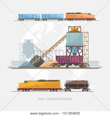 Rail transportation. Flat design.