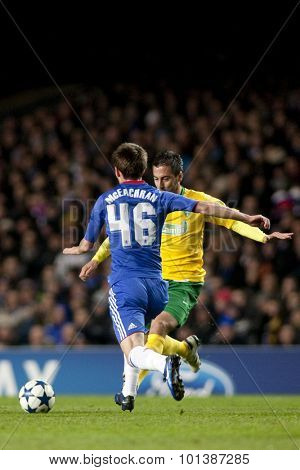 LONDON ENGLAND 23 NOVEMBER 2010.Chelsea's midfielder Josh McEachran in action during the UEFA Champions League match between Chelsea FC and MSK Zilina, played at Stamford Bridge.
