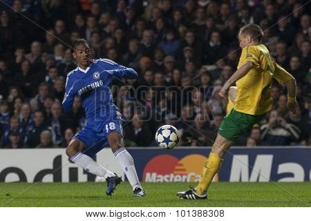 LONDON ENGLAND 23 NOVEMBER 2010. Chelsea's defender Patrick van Aanholt and MSK Zilina's defender Vladimar Leitner in action during the UEFA Champions League