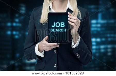 Blonde Woman In Formal Suit Presents A Tablet With The Words 'job Search' On The Screen. A Concept O