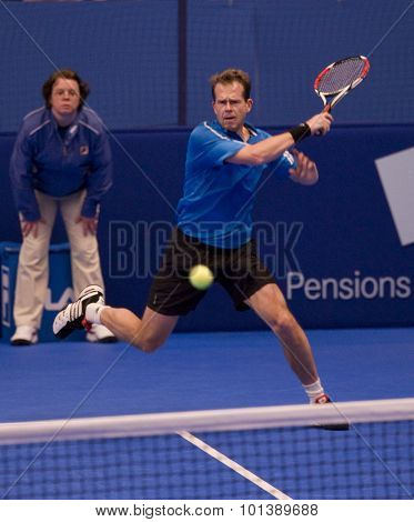 LONDON, ENGLAND. 06 DECEMBER 2009 -   Stefan Edberg (SWE) competing in the singles final at the season finale to the ATP Champions Tour during the AEGON Masters Tennis, Royal Albert Hall, London.