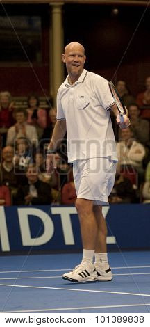 LONDON, ENGLAND. 05 DECEMBER 2009 -   Murphy Jensen (USA) competing in the season finale to the ATP Champions Tour match during the AEGON Masters Tennis, Royal Albert Hall, London.