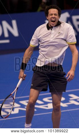 LONDON, ENGLAND. 04 DECEMBER 2009 -   Younes El Aynaoui (MOR) reacts after winning his match with Mark Philippoussis (AUS) during the AEGON Masters Tennis, Royal Albert Hall, London.