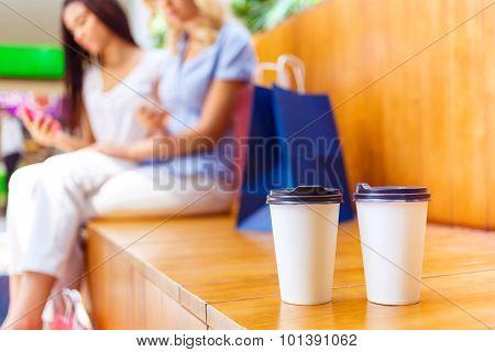 Nice girls sitting on the bench