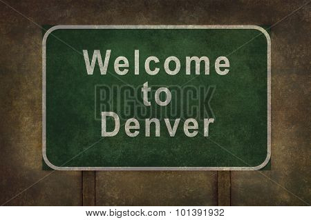 Welcome To Denver Roadside Sign Illustration, With Ominous Background