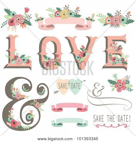 Retro Floral Invitation Design Elements