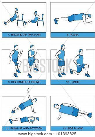Set sport exercises 7 minutes